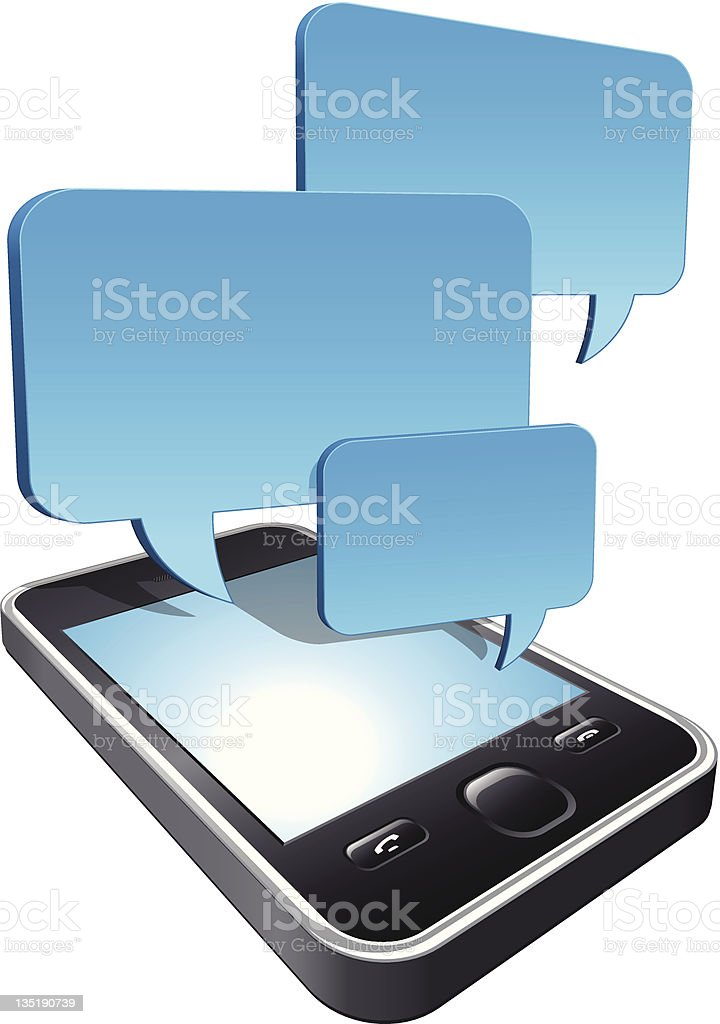 3d smartphone with speech bubbles hovering royalty-free stock vector art
