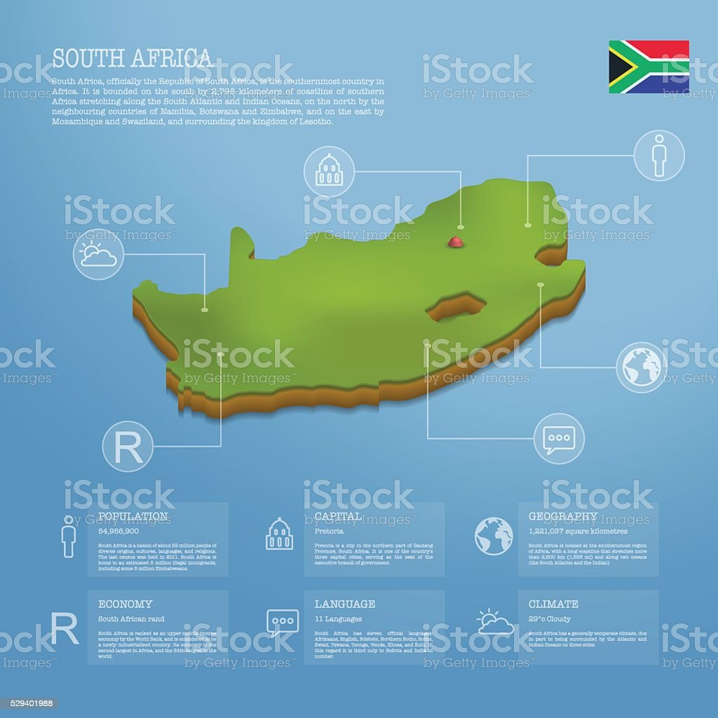 3d south africa infographic vector art illustration