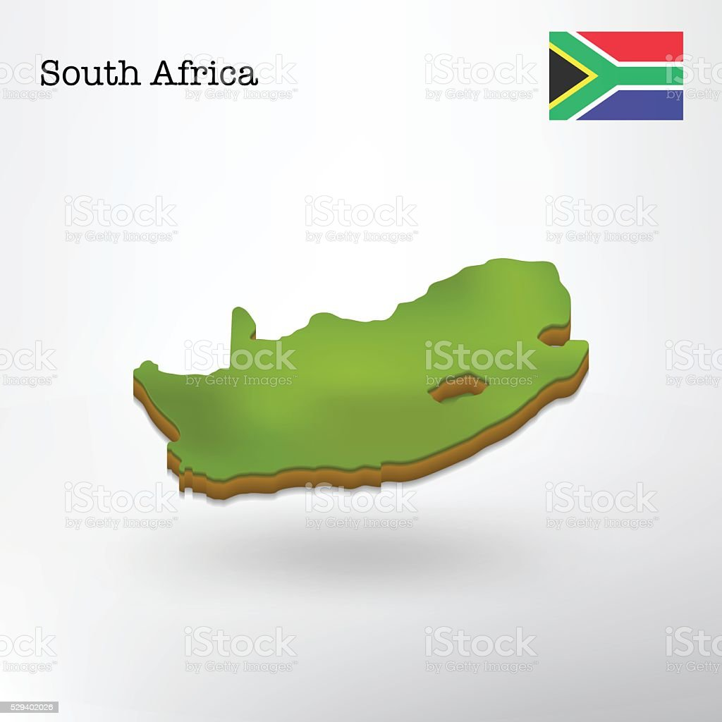 3d South Africa Map Clip Art Vector