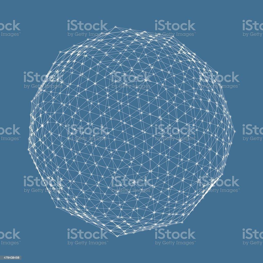 3d sphere. Global digital connections. Technology concept. vector art illustration