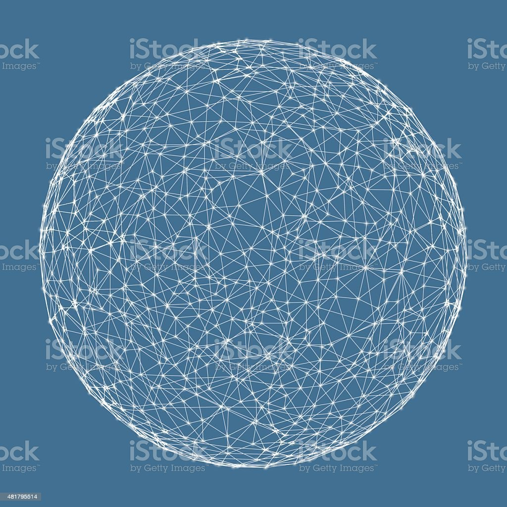 3d sphere. Global digital connections. Technology concept. vector art illustration