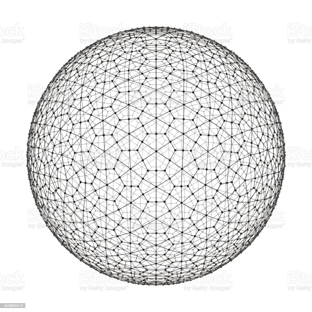 3d Sphere. Global Digital Connections. Technology Concept. Vector Illustration. vector art illustration