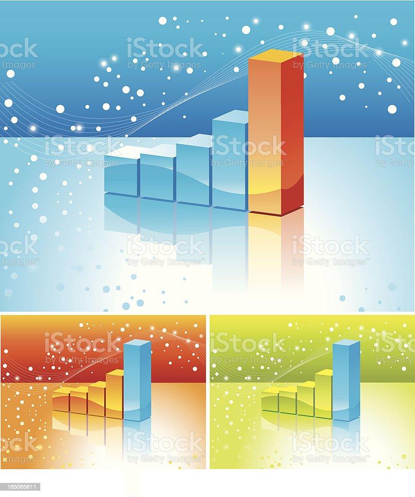 3d stat chart vector art illustration