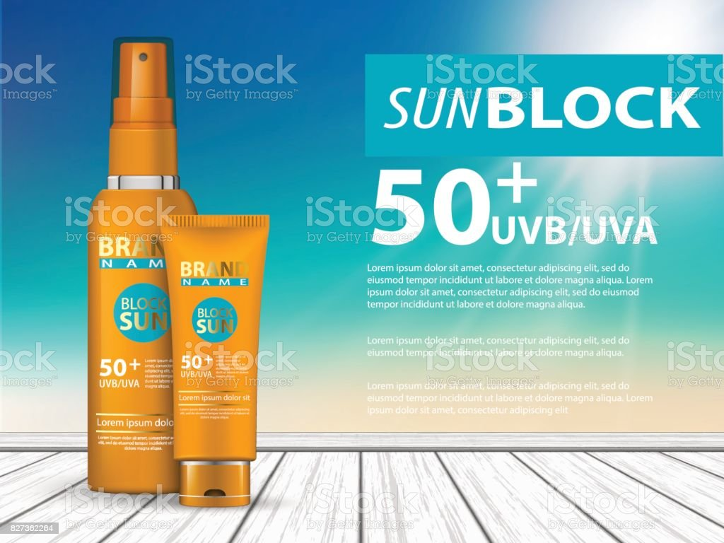 3d sunscreen protection vector art illustration