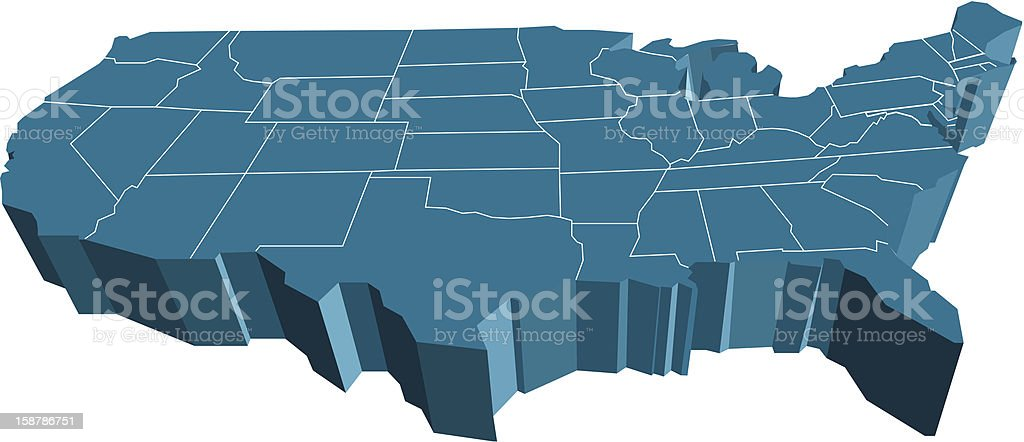 3d USA Map vector art illustration