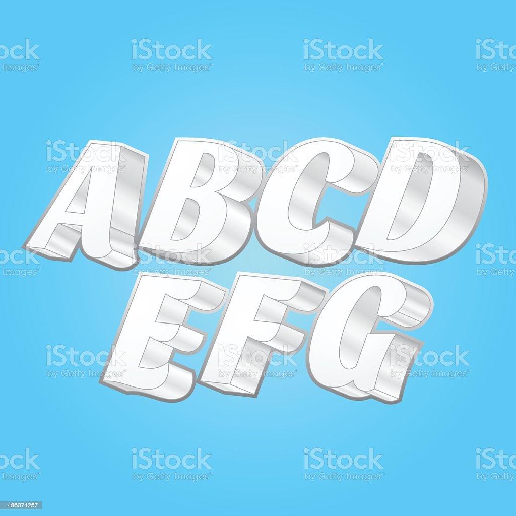 3d Vector Alphabets Font vector art illustration