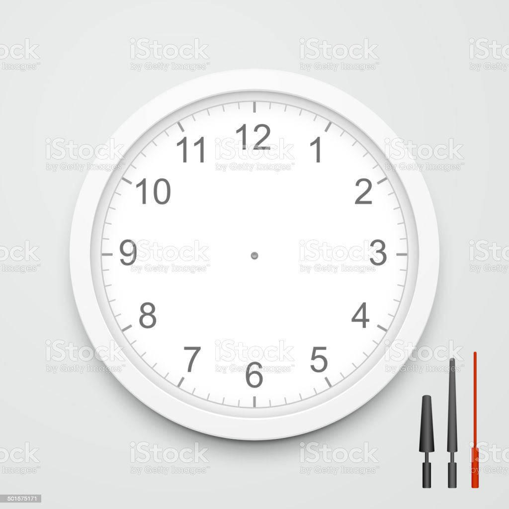 3d vector blank clock face vector art illustration