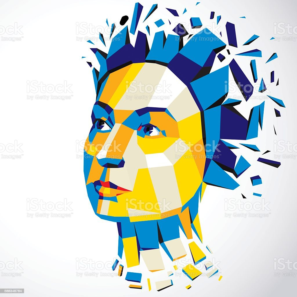 3d vector illustration of human head, low poly style. vector art illustration