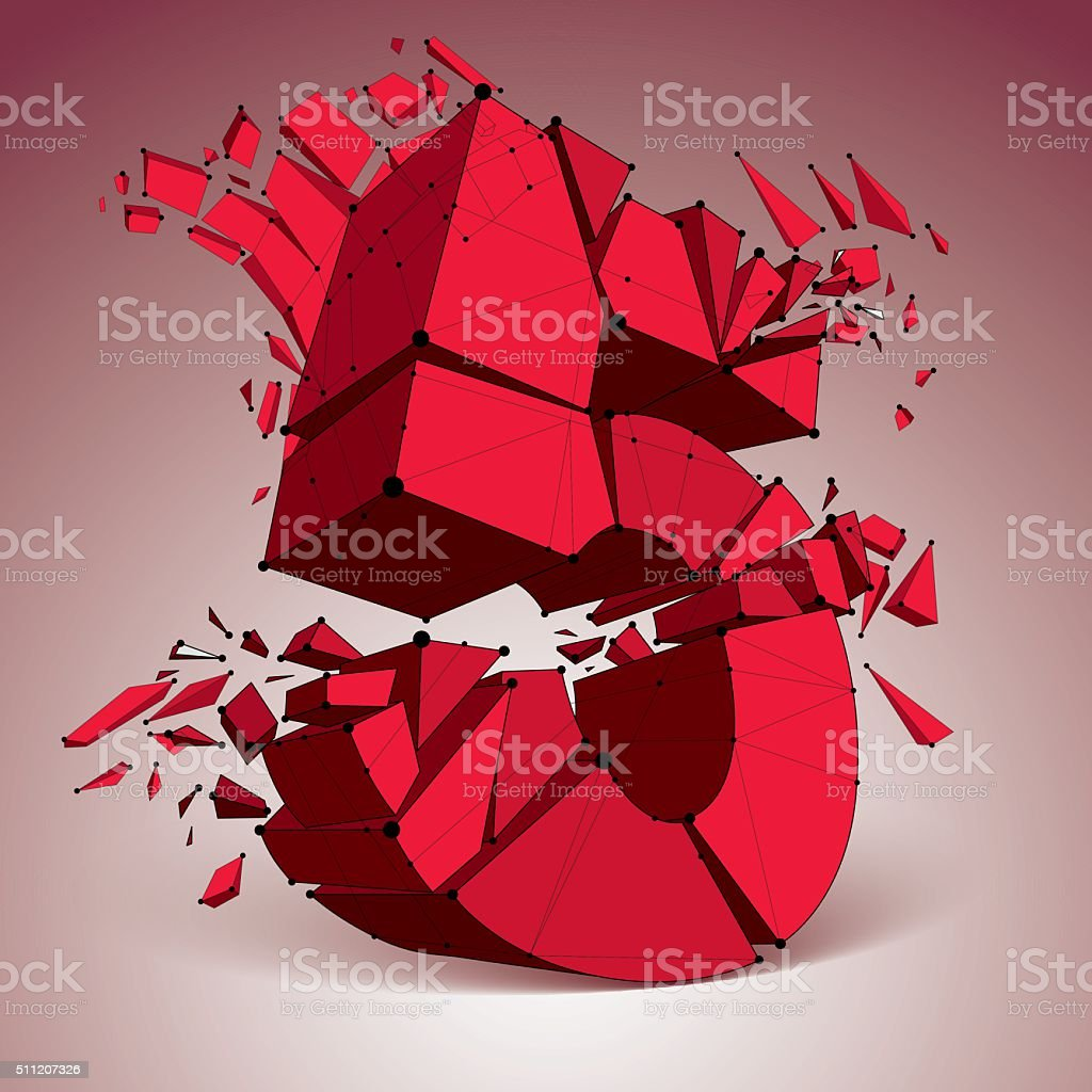 3d vector low poly red number 5 with connected lines vector art illustration