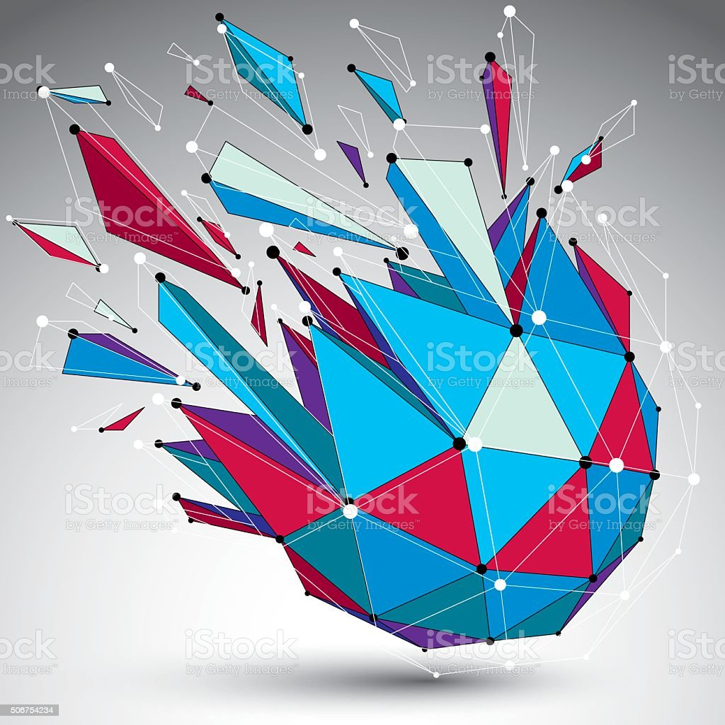 3d vector low poly shattered shape, lattice form. vector art illustration