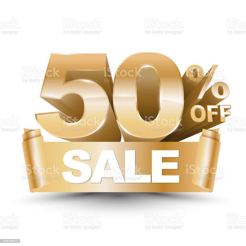 3d vector shiny gold discount 50 percent off vector art illustration