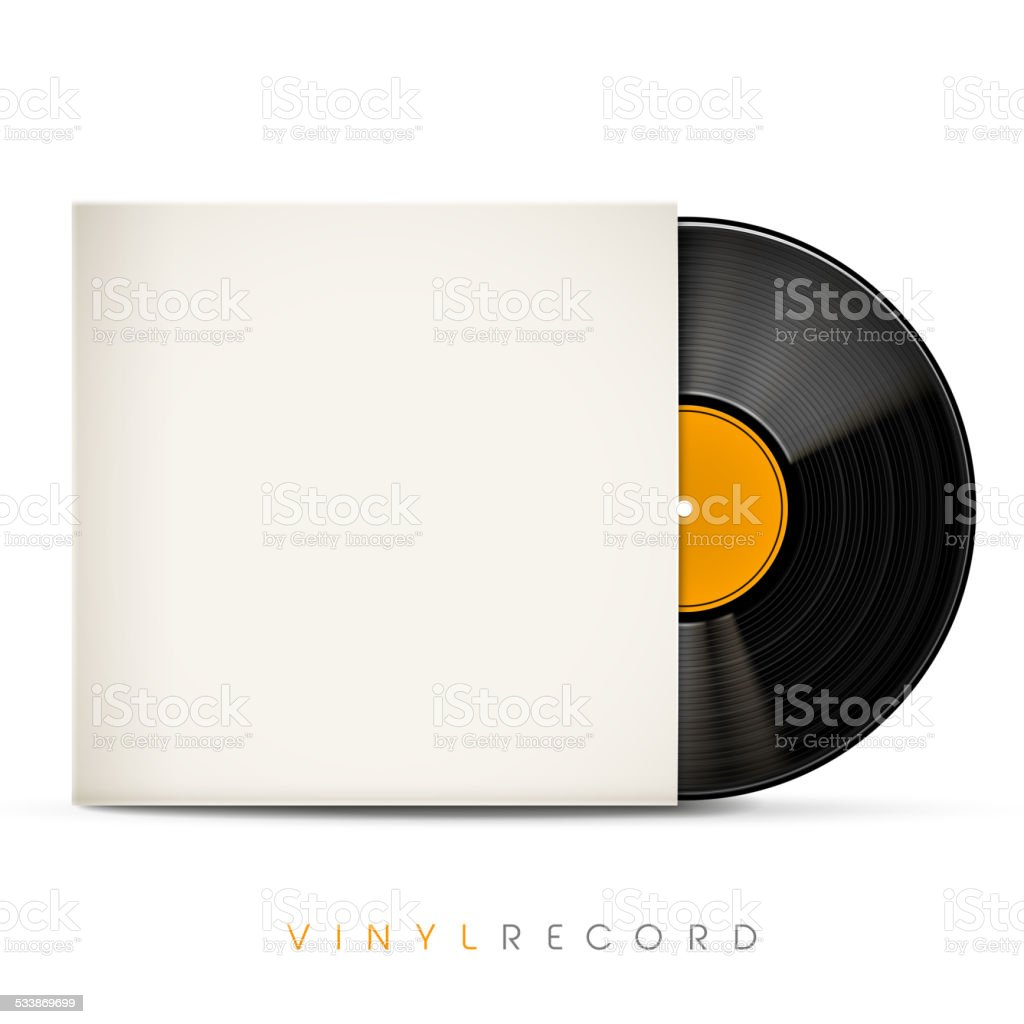 3d vinyl record with blank envelope vector art illustration