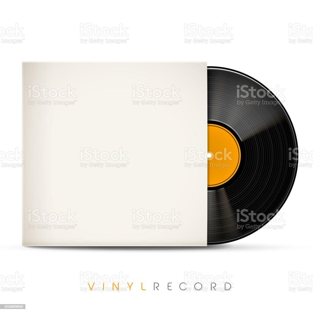 3d vinyl record with blank envelope vector art illustration