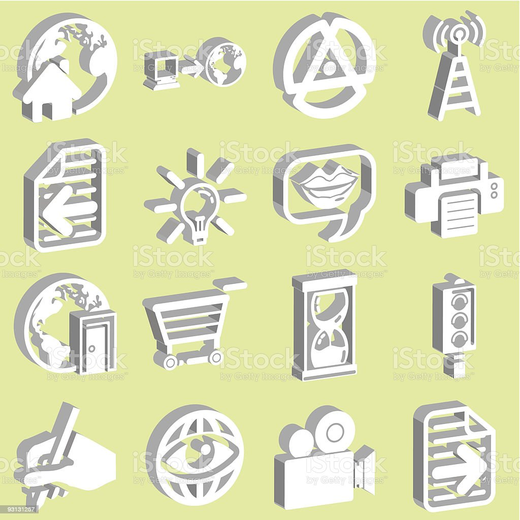 3d white Internet and Computing Icons royalty-free stock vector art