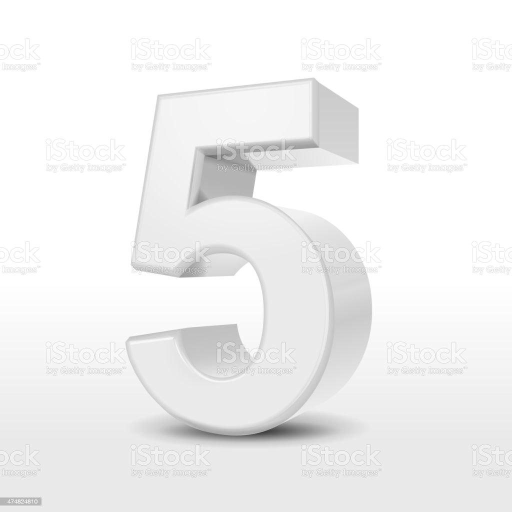 3d white number 5 vector art illustration
