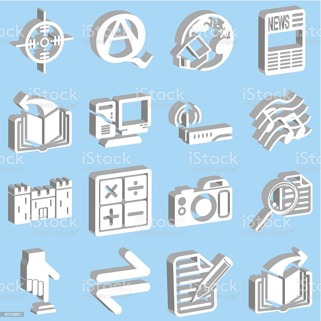 3d white web icons royalty-free stock vector art
