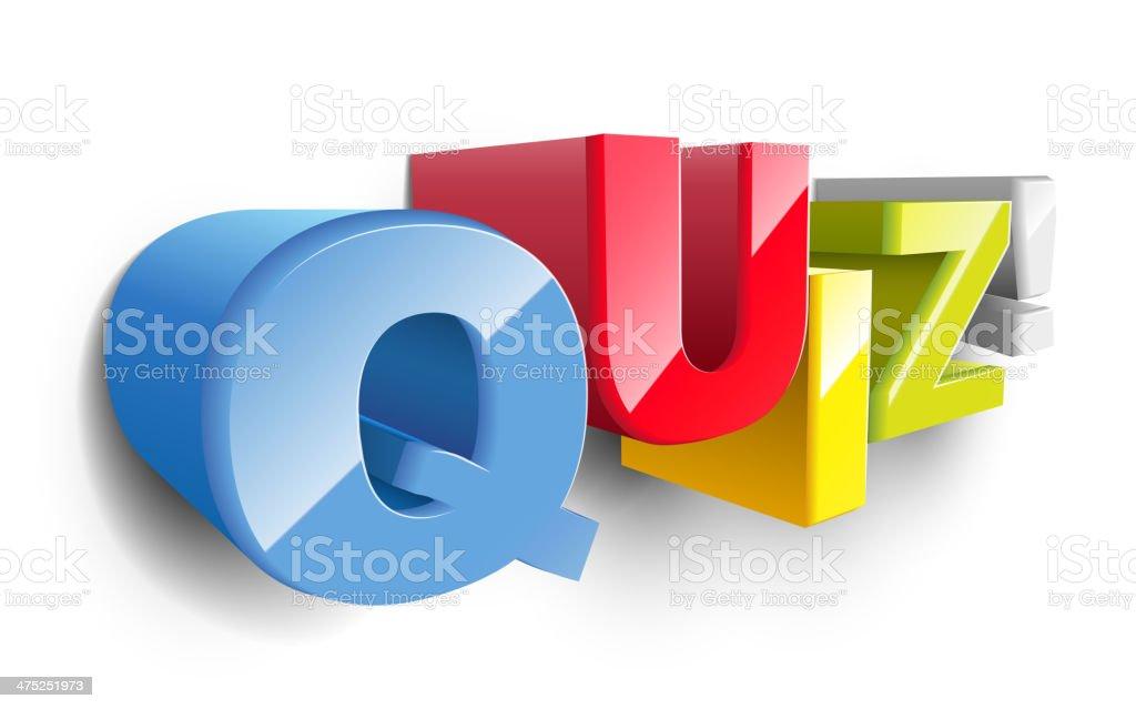 3d word QUIZ royalty-free stock vector art