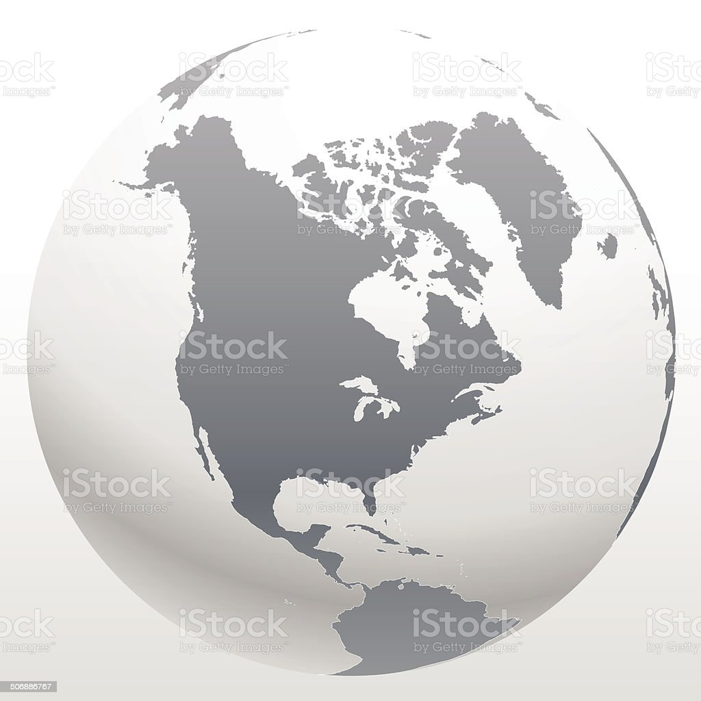 3d world globe icon with white map vector art illustration