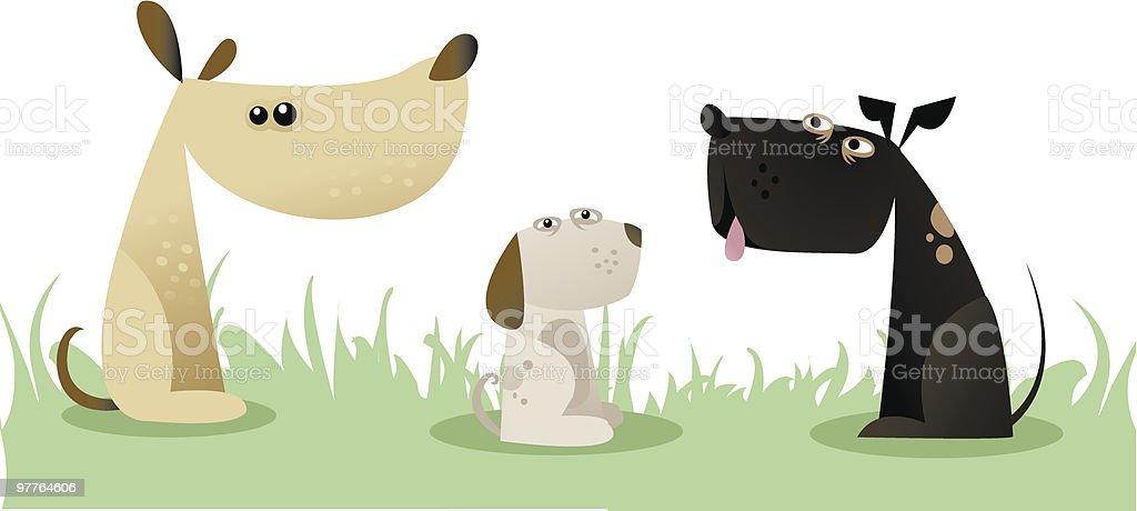 3dogs vector art illustration