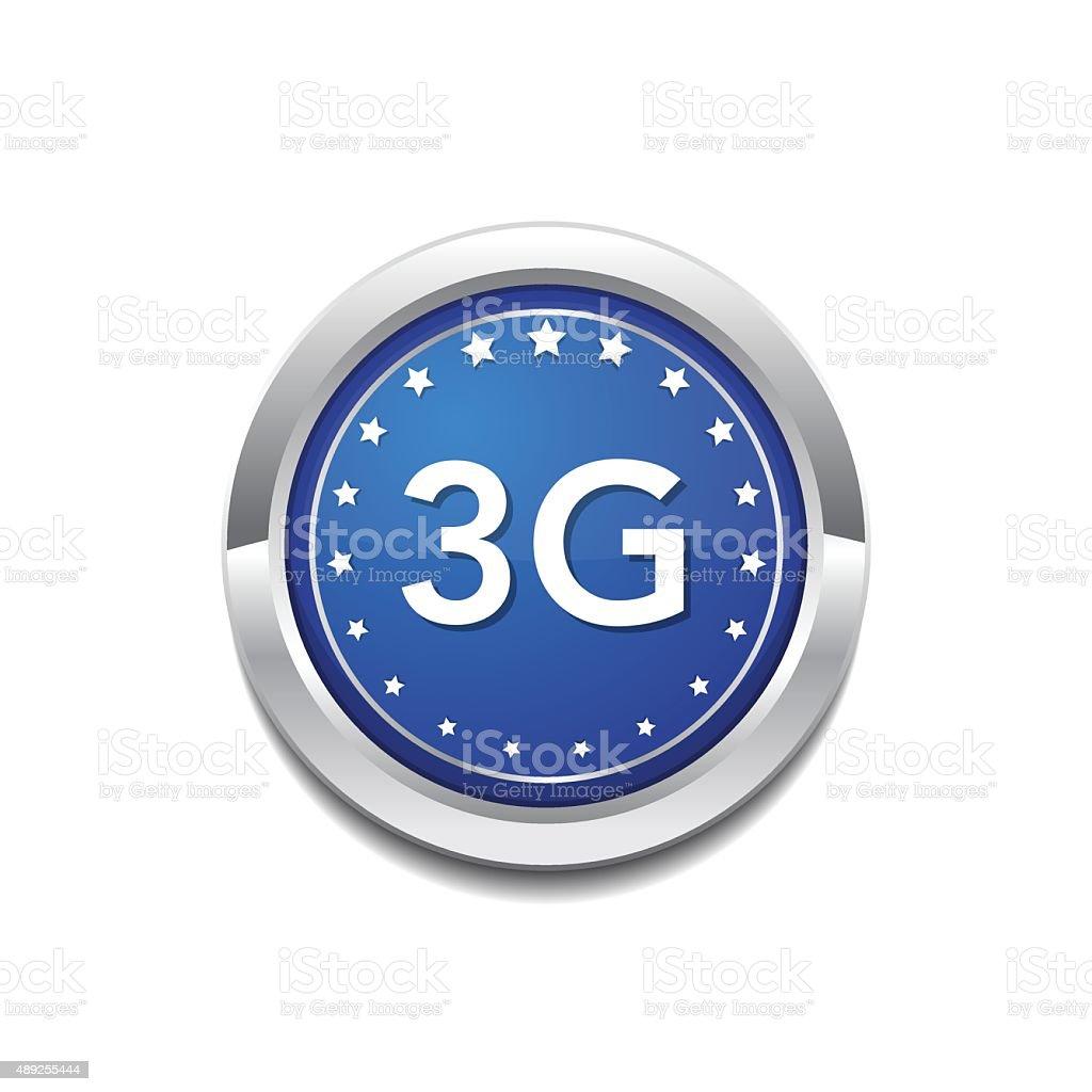 3g Sign Circular Blue Vector Button Icon vector art illustration