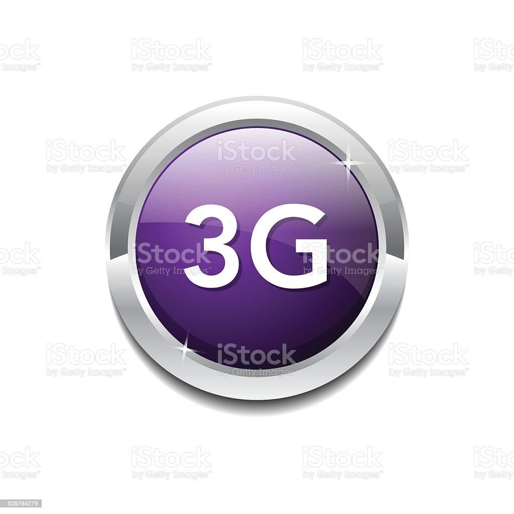 3g Sign Circular Purple Vector Button Icon vector art illustration