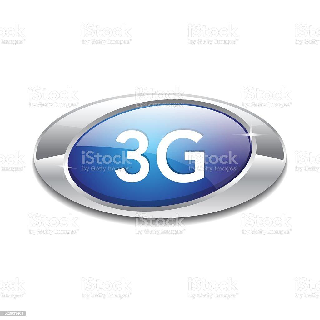 3g Sign Elliptical Blue Vector Button Icon vector art illustration