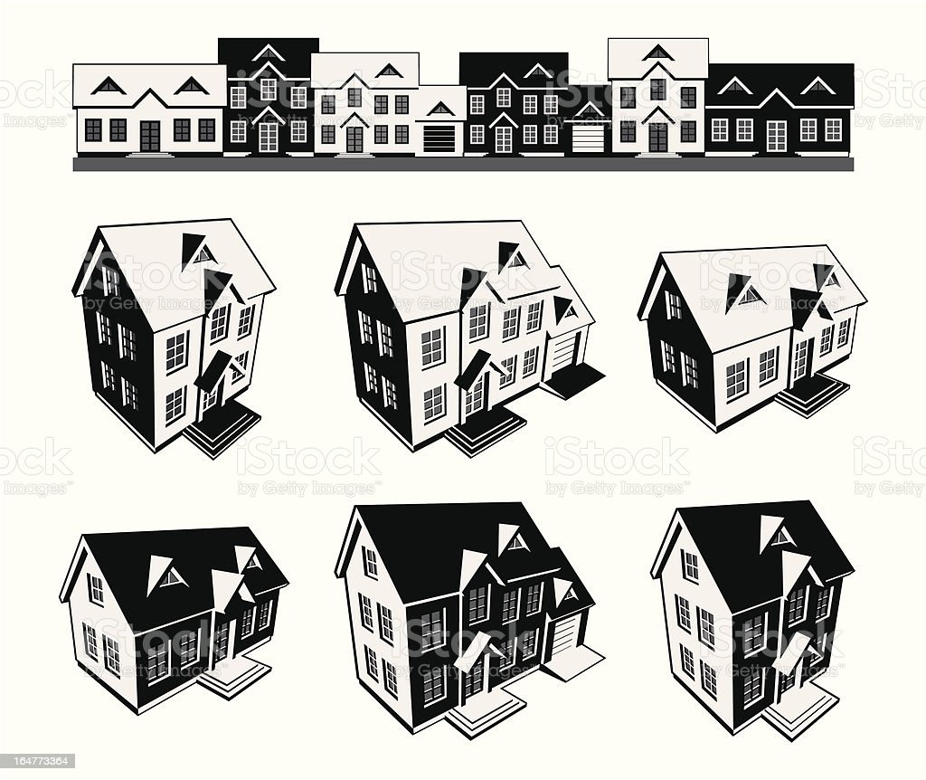 3house_3color_3D-Silhouette royalty-free stock vector art