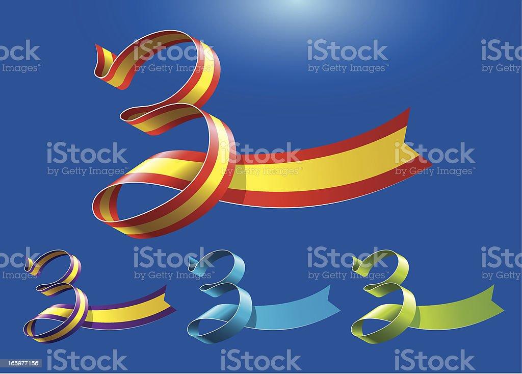 3rd anniversary RibbonArt vector art illustration