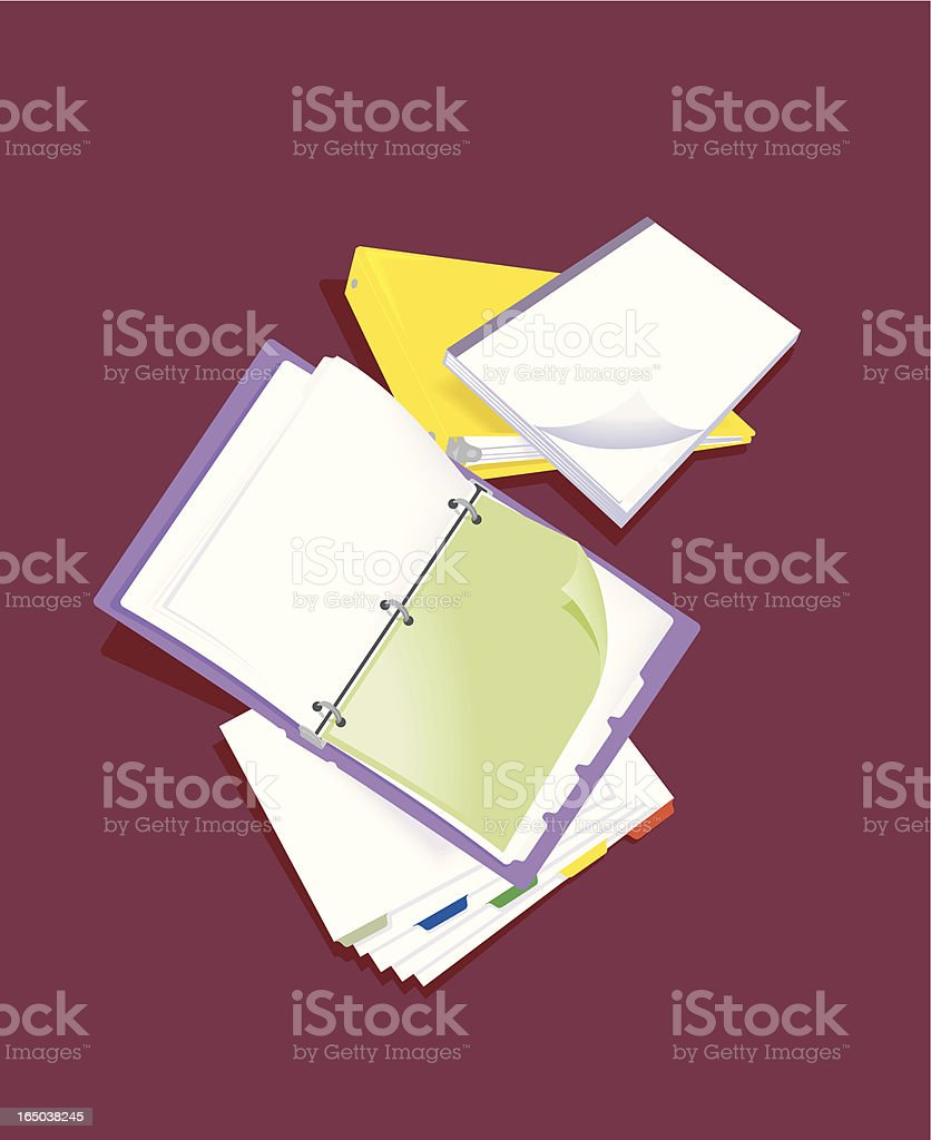 3-ring binder with tab pages vector art illustration