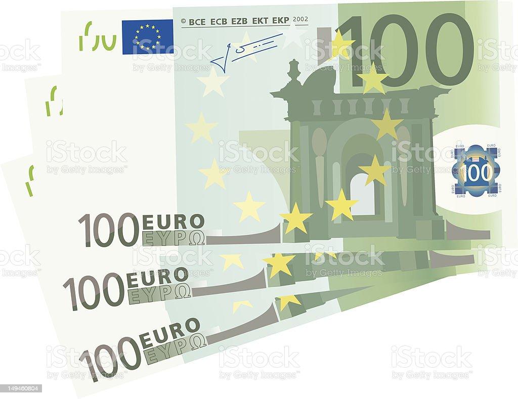 3x 100 Euro bills (isolated) royalty-free stock vector art