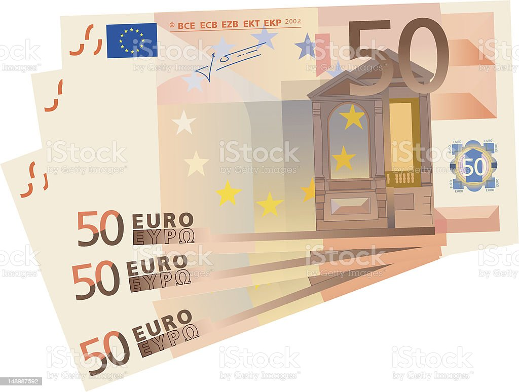 3x 50 Euro bills (isolated) royalty-free stock vector art