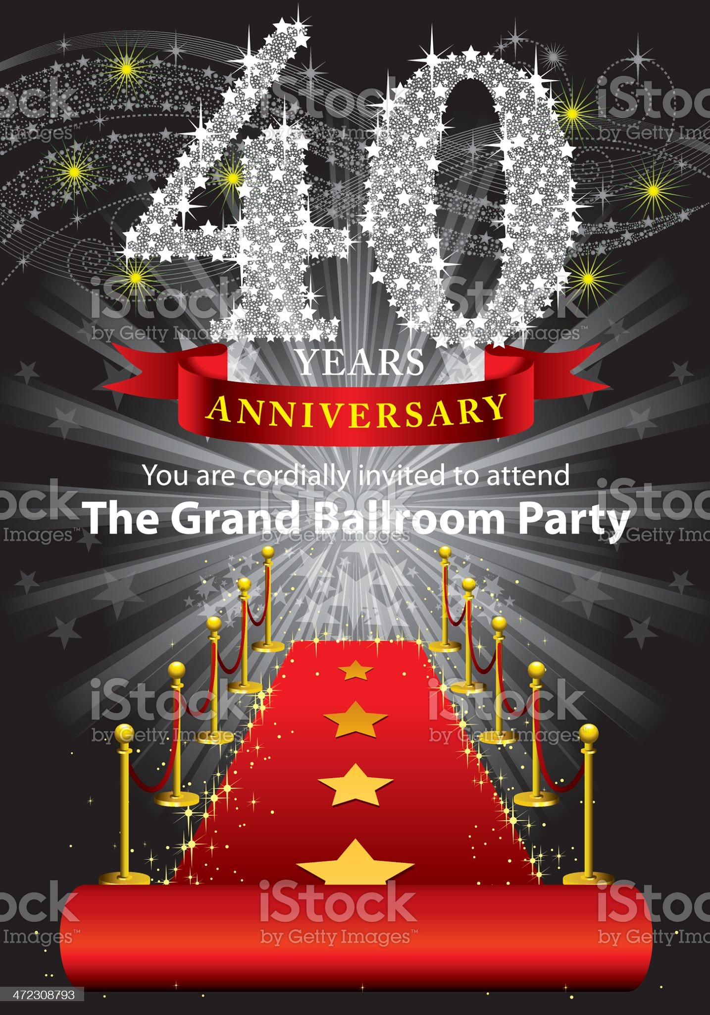 40th Anniversary Party royalty-free stock vector art