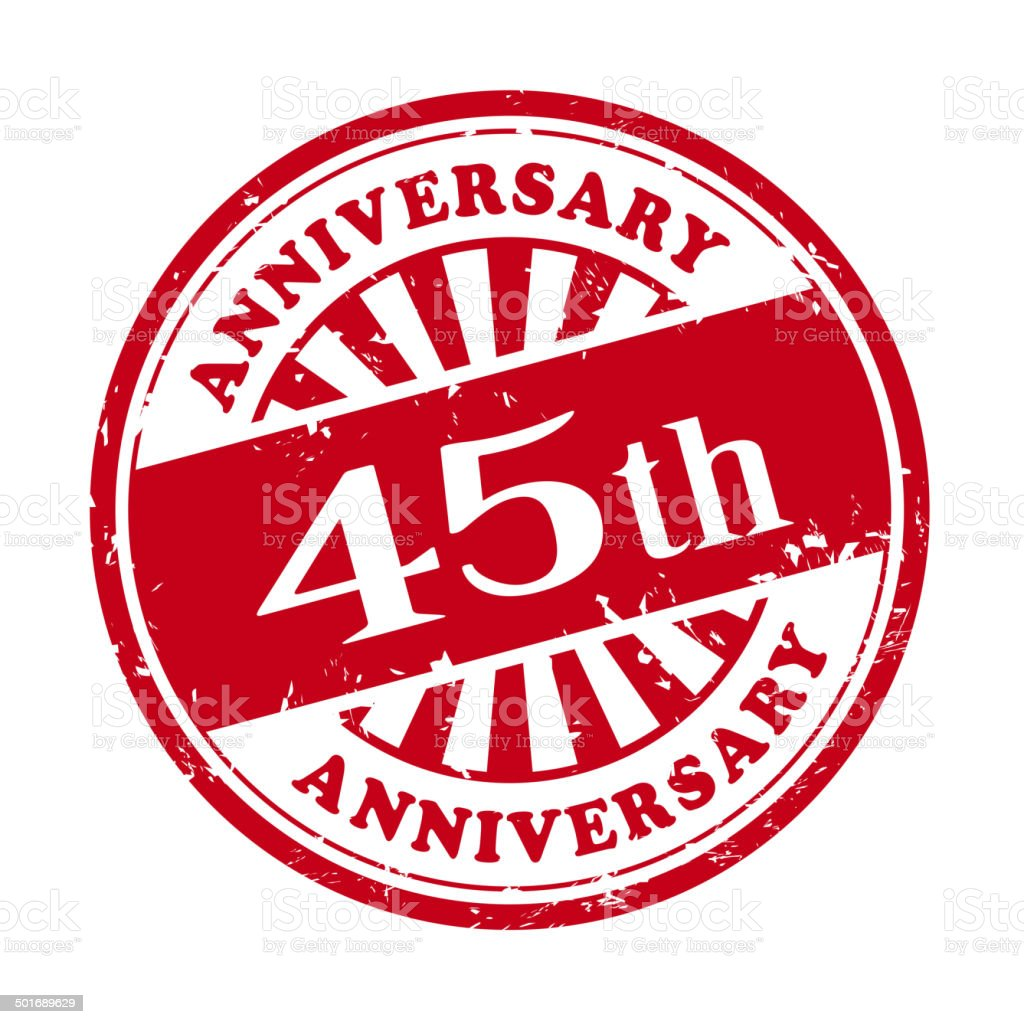 45th anniversary grunge rubber stamp royalty-free stock vector art