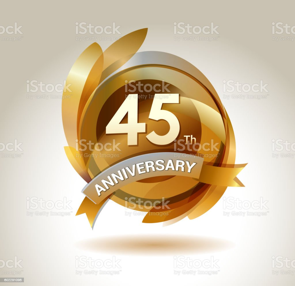 45th anniversary ribbon logo with golden circle and graphic elements vector art illustration