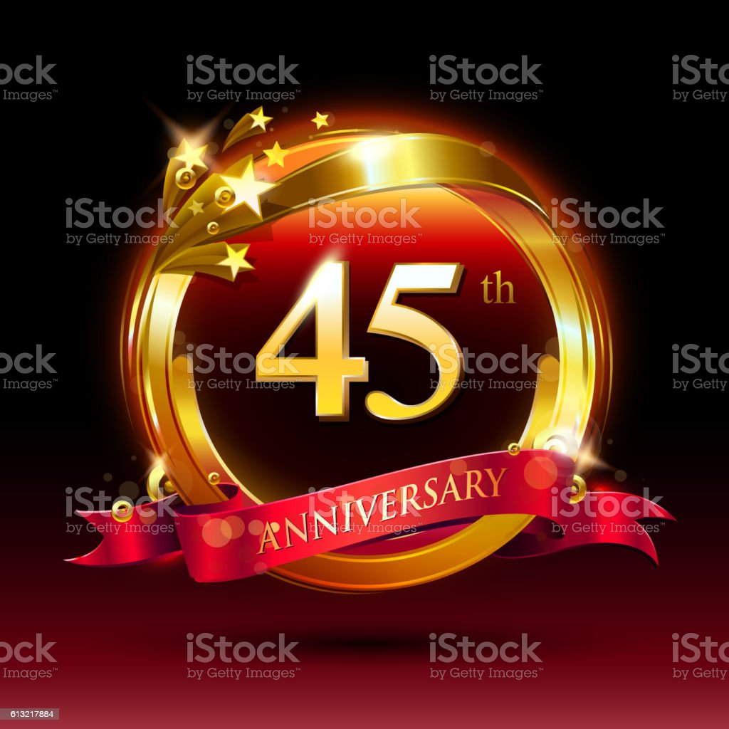 45th golden anniversary logo with ring and red ribbon vector art illustration