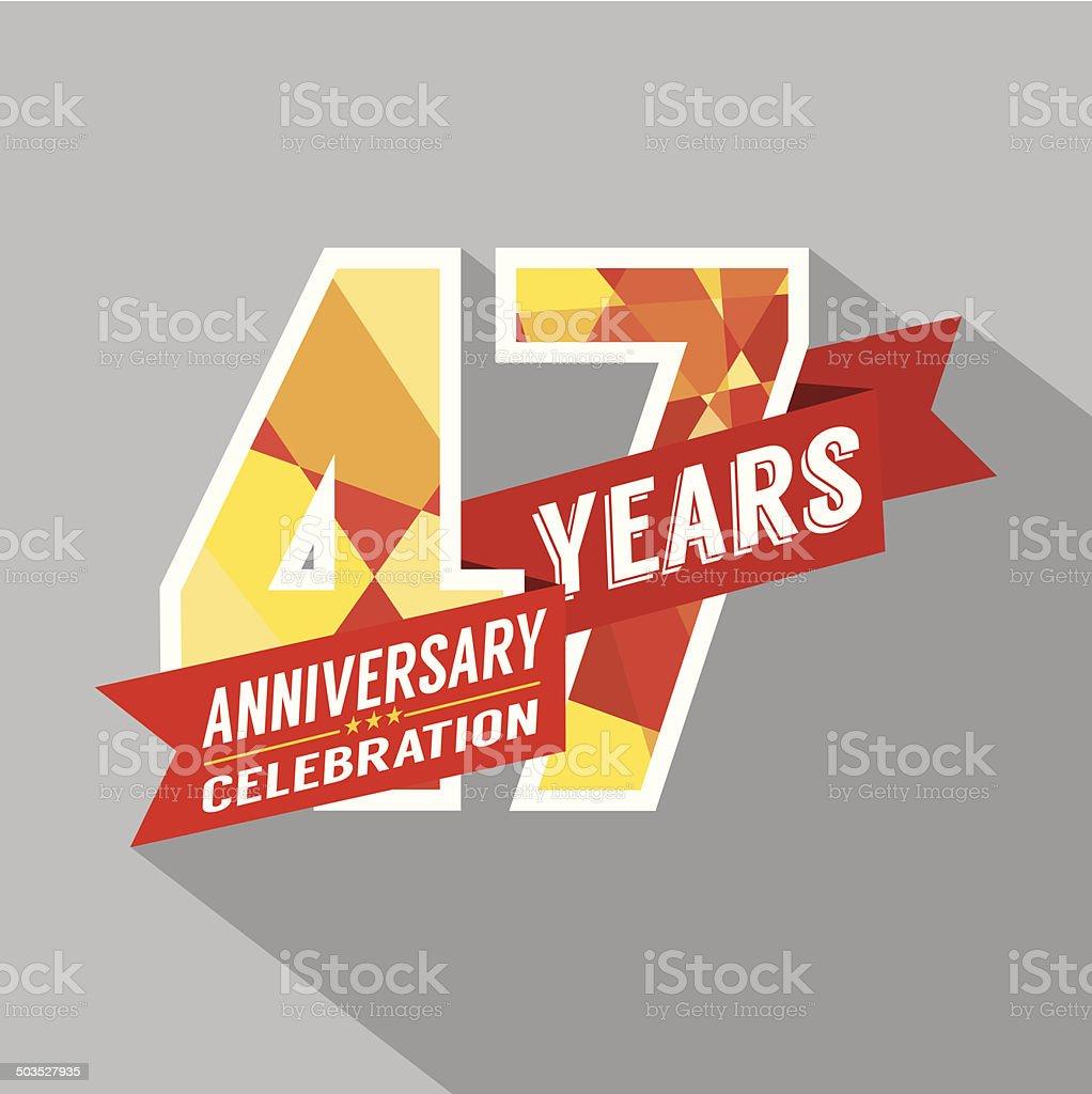 47th Years Anniversary Celebration Design vector art illustration