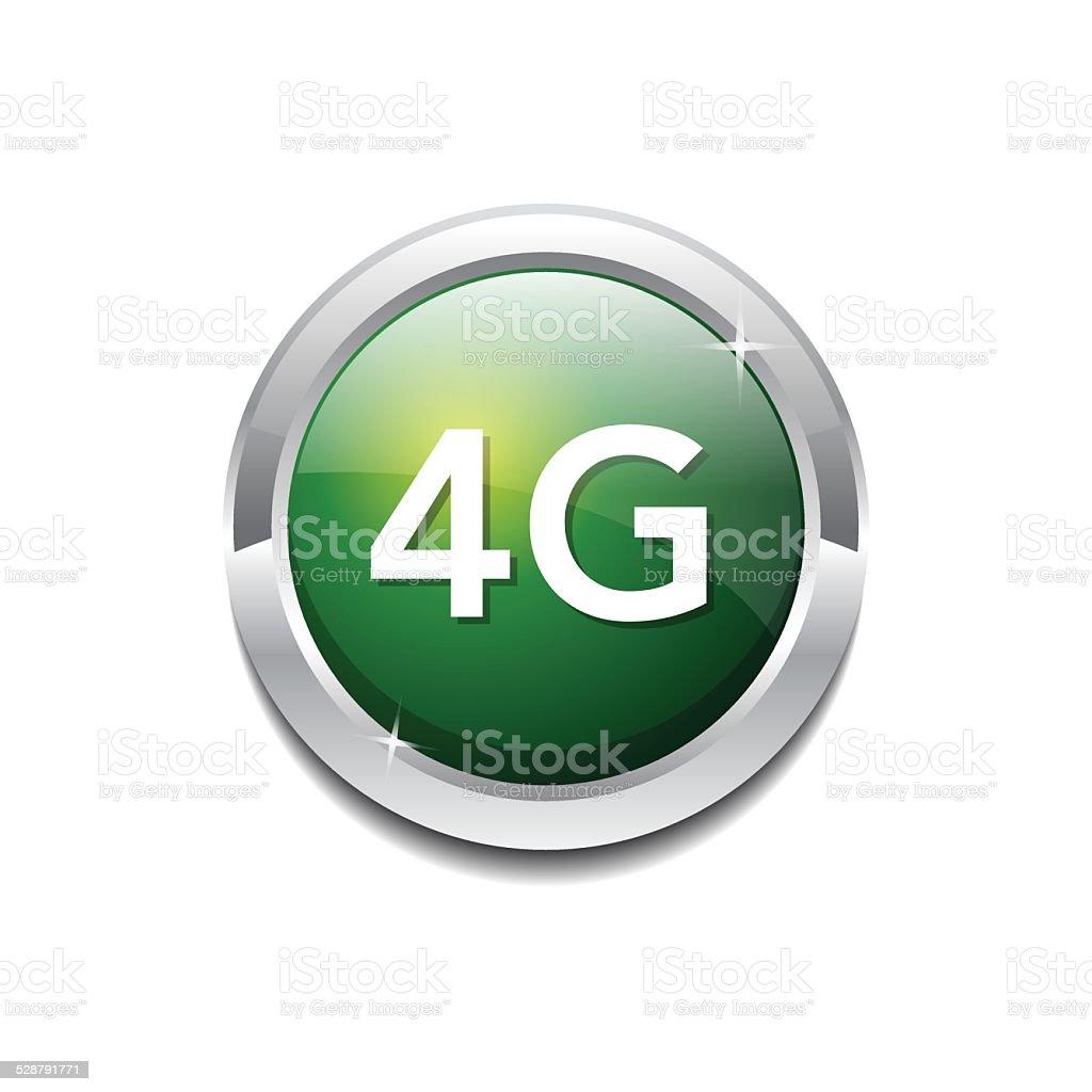 4g Sign Circular Green Vector Button Icon vector art illustration