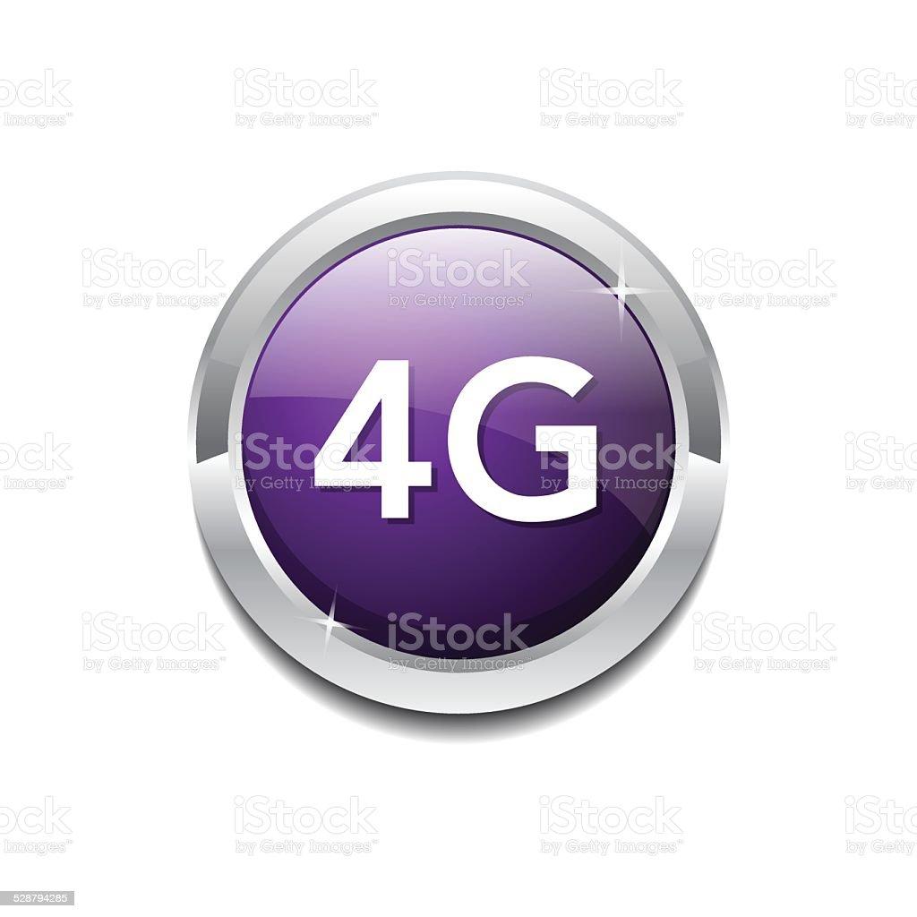 4g Sign Circular Purple Vector Button Icon vector art illustration