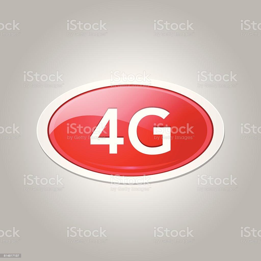 4g Sign Circular Red Vector Button Icon vector art illustration