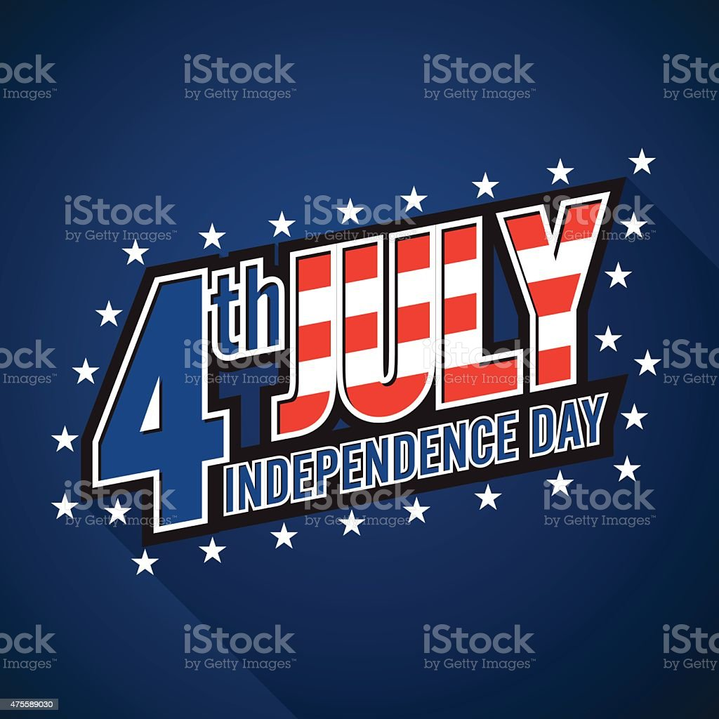 4th july. American independence day. blue background vector art illustration