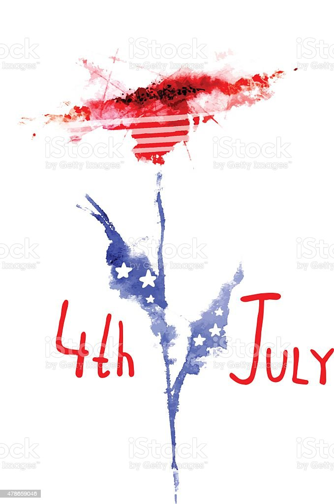 4th July Independence Day, floral watercolor vector background vector art illustration