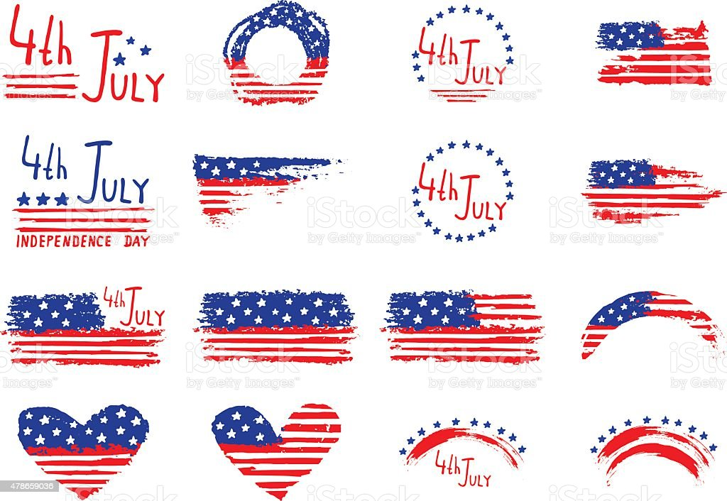 4th July Independence Day hand  background vector art illustration