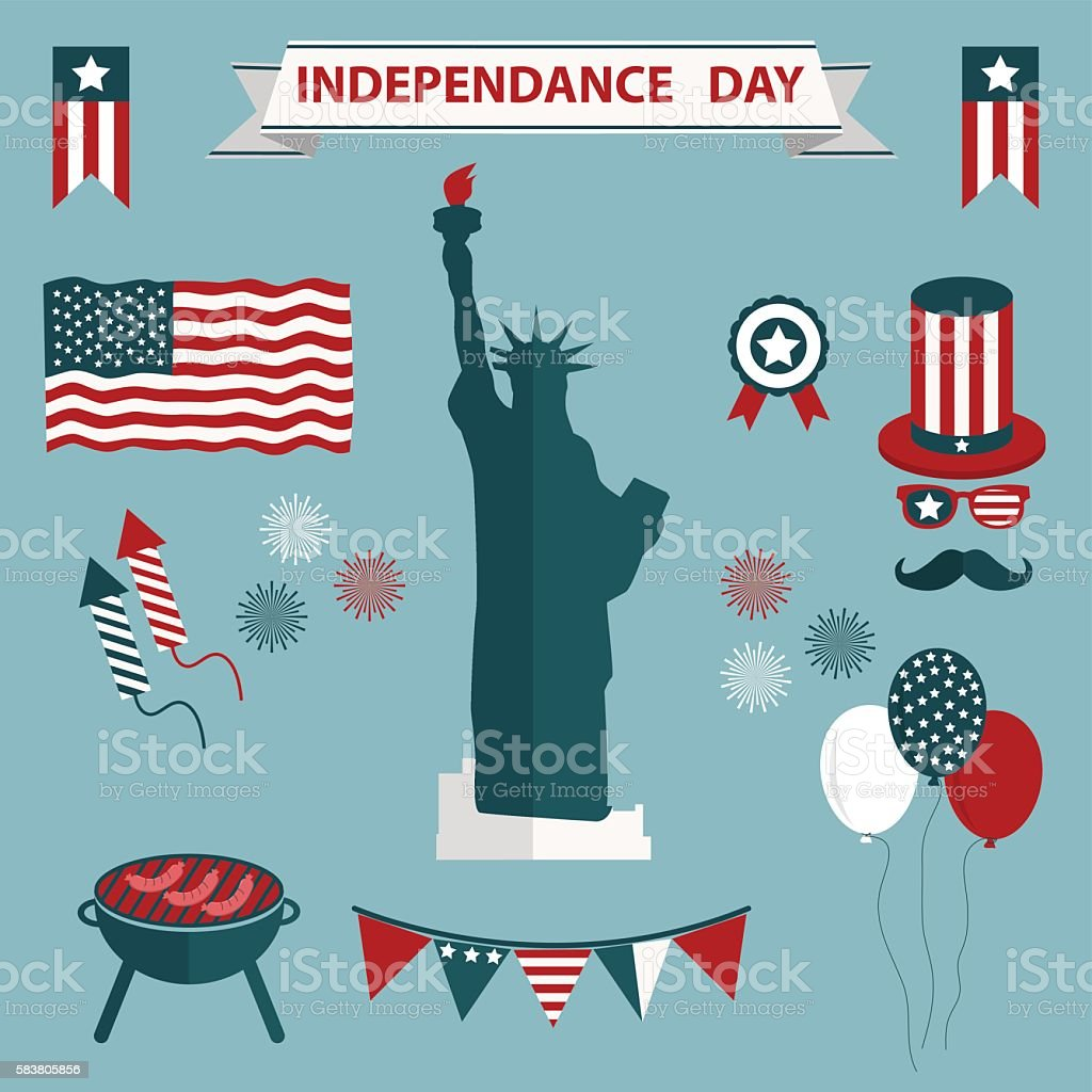 4th of July, Independence Day of the United States. vector art illustration