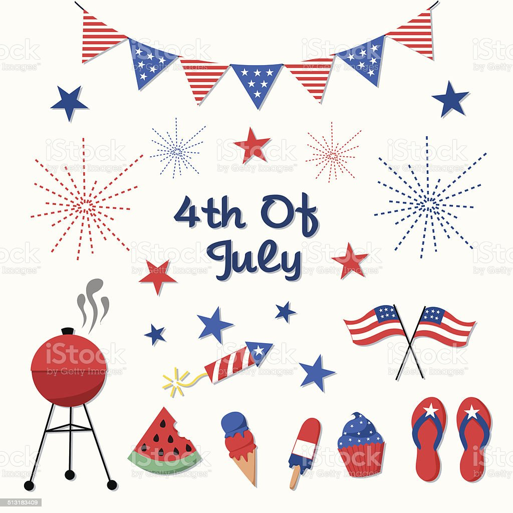 4th of July, Independence Day Vector Set vector art illustration
