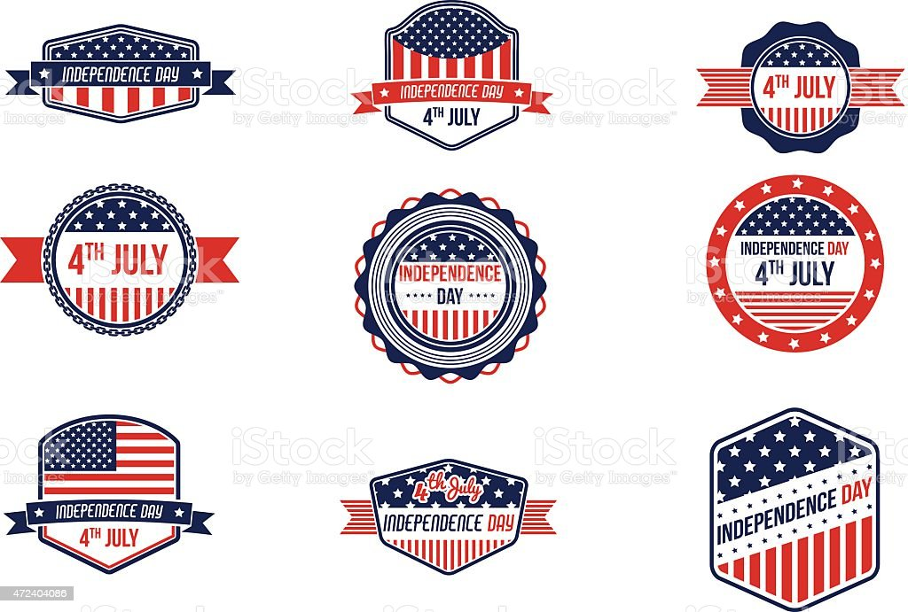 4th Of July Retro Badges vector art illustration