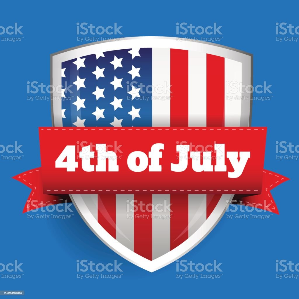 4th of July - shield with flag vector art illustration