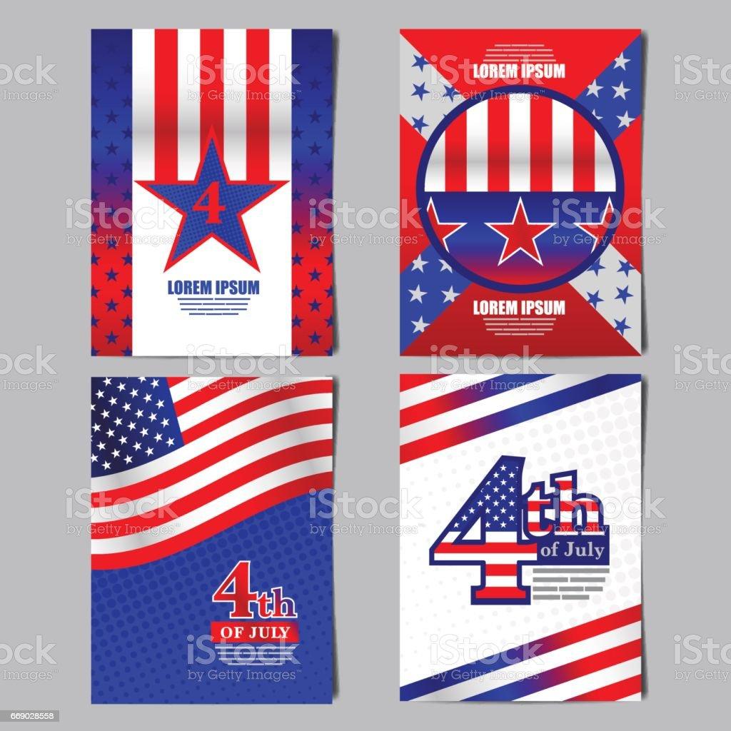 4th of july ,USA flag banner, layout template design, vector illustration. vector art illustration