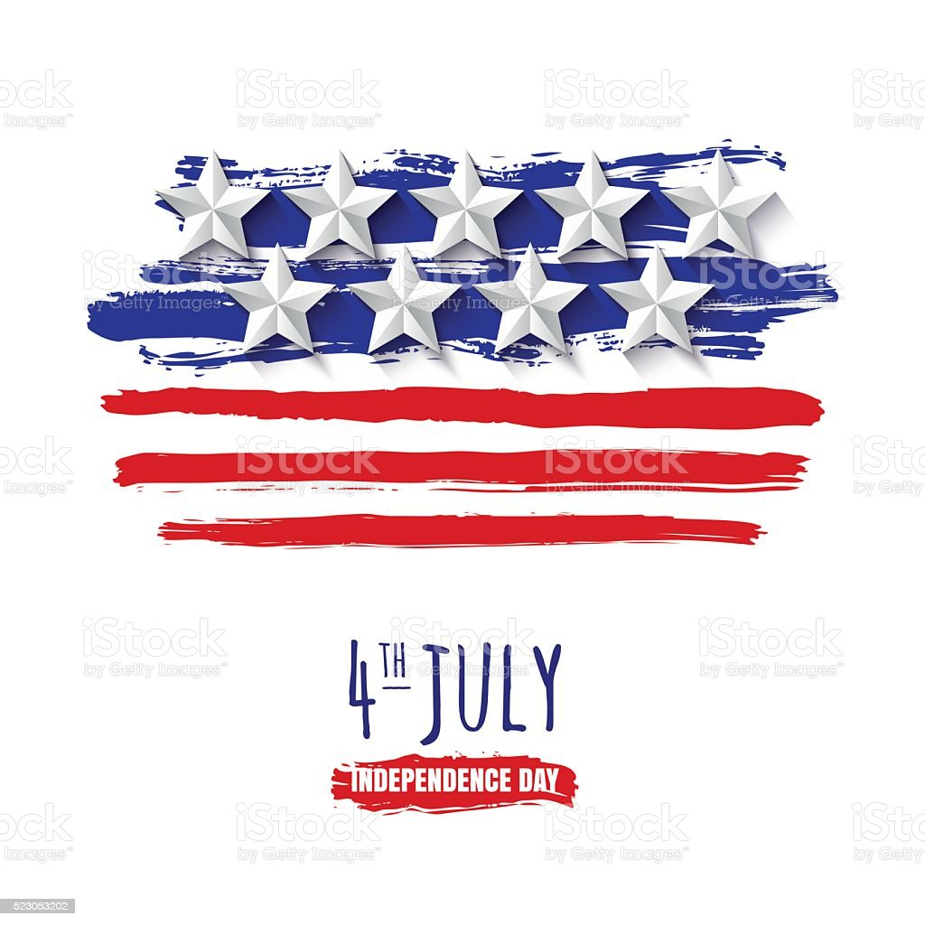 4th of July, USA Independence Day. Vector watercolor background. vector art illustration