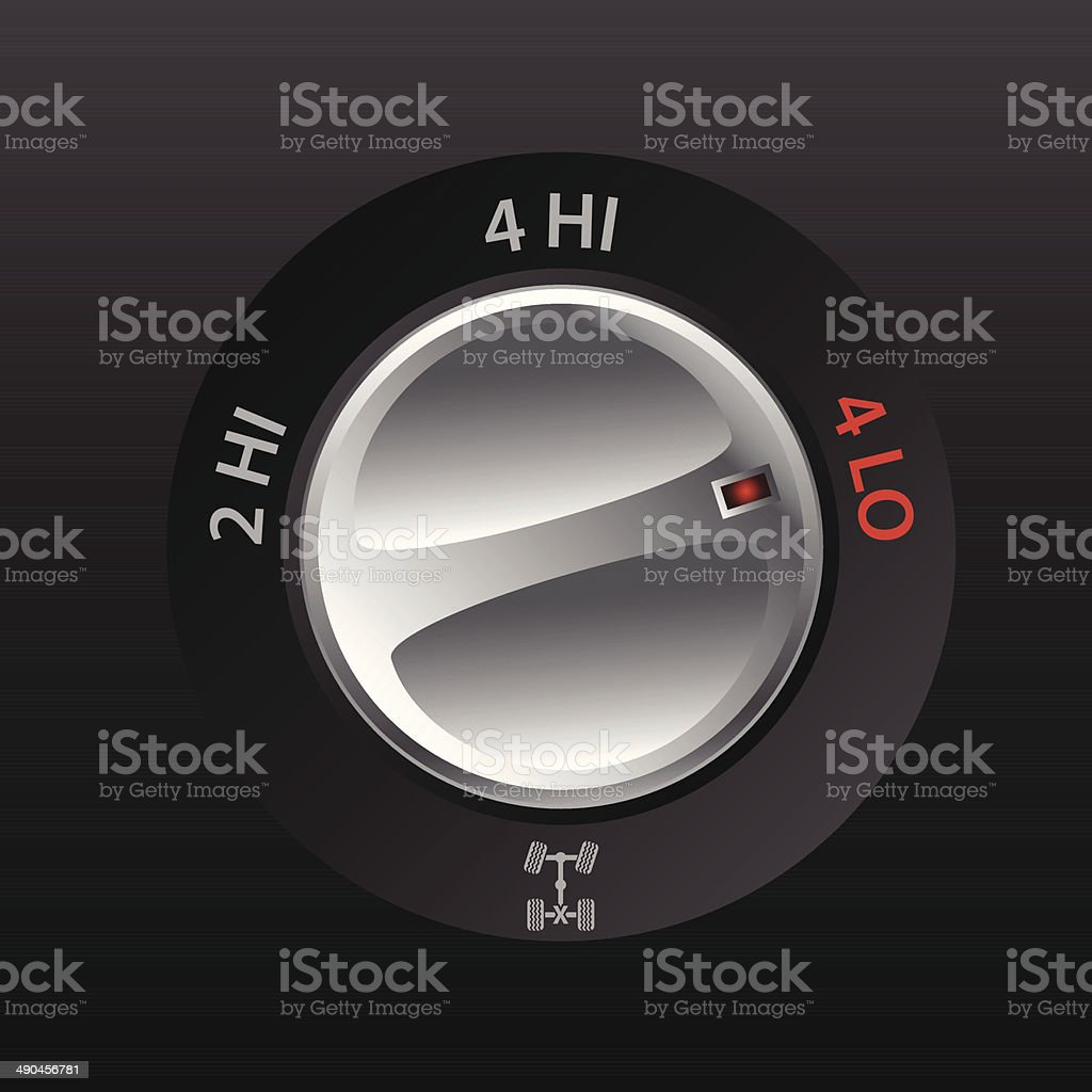 4x2 to 4x4 transmission knob royalty-free stock vector art