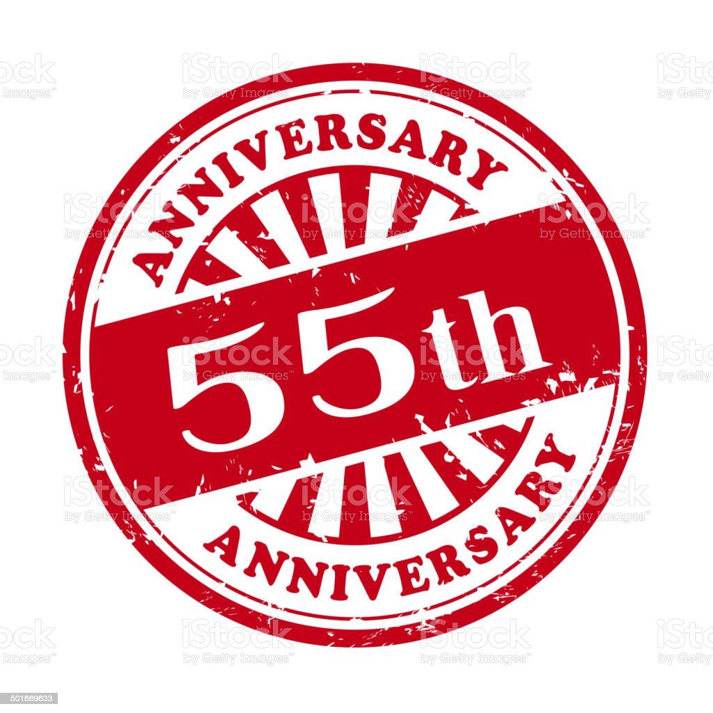 55th anniversary grunge rubber stamp royalty-free stock vector art